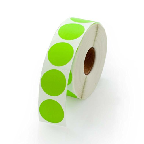 Green Round Color Coding Inventory Labeling Dot Labels/Stickers - 1 Inch Round Labels 1000 Stickers Per Roll