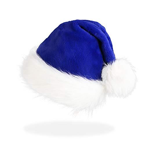 CCINEE Santa Hat for Adults,Blue Plush Santa Hats Velvet Christmas Hat for Home Decoration Party Supplies