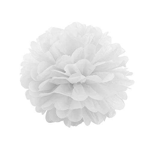 JZK 10 x Pompoms Pompons, 20cm Durchmesser, Seidenpapier Blume Dekoration für Wohnzimmer Hochzeit Geburtstag Babyparty Kinder Party Weihnachten Silvester, weiß