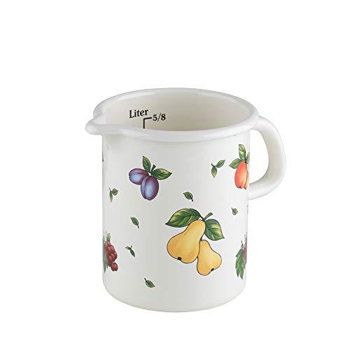 Riess, 0338-068, Küchenmaß 10 1,0 L, COUNTRY - FRUIT GARDEN, Durchmessser 10 cm, Höhe 14,8 cm, Inhalt 1,0 Liter, Emaille, weiß mit Fruchtdekor