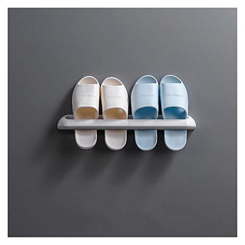 Yyqx Estante para zapatos de baño, zapatillas, de plástico, para montar en la pared, estante de almacenamiento simple para el baño, diario, estante doble zapatero (color: grande)