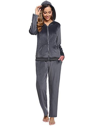 Abollria Donna Tute da Ginnastica Invernale 2 Pezzi, Completi Sportivi Abbigliamento con Cappuccio, Felpa per Corsa Yoga Pigiama per Casa Grigio Scuro