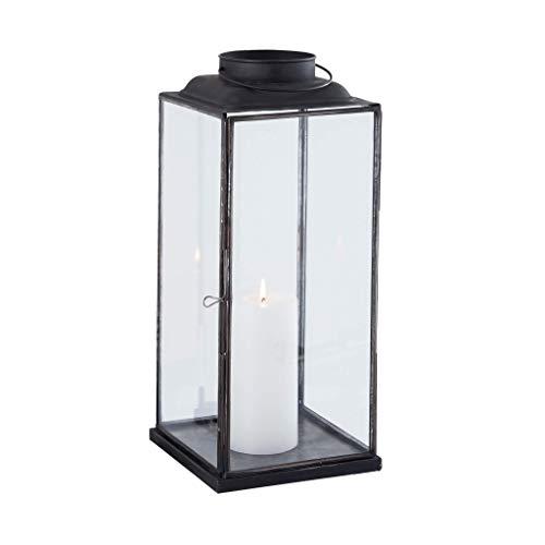 Milani Home s.r.l.s. Lanterna in Vetro e Metallo di Design Moderno Stile Minimalista portacandela, cm 18 x 18 x 42,5 h
