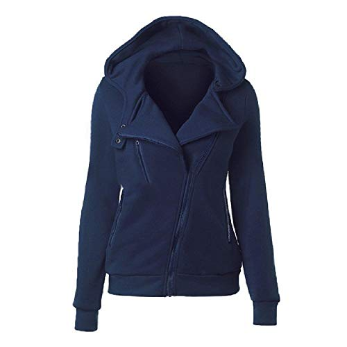 N\P Sudadera con capucha para mujer de manga larga con cremallera marine XXXL