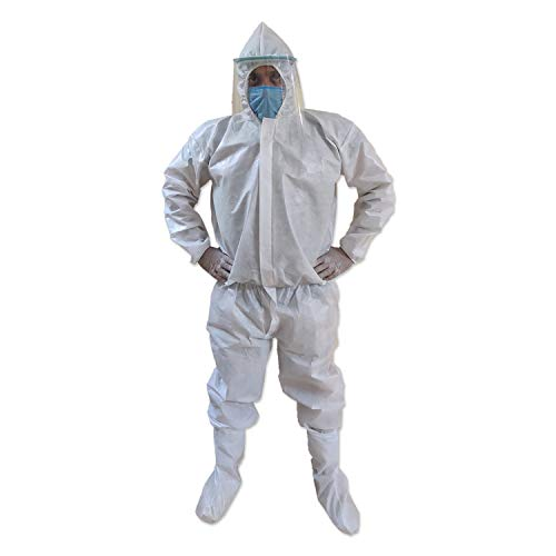 PrettyKrafts SITRA & CE Certified Laminated PPE KIT with Full Body Coverall, Latex Gloves, Shoe Cover, Face Mask, Face Shield, Complete PPE kit for Doctors, Washable & Reusable, White, Set of 50