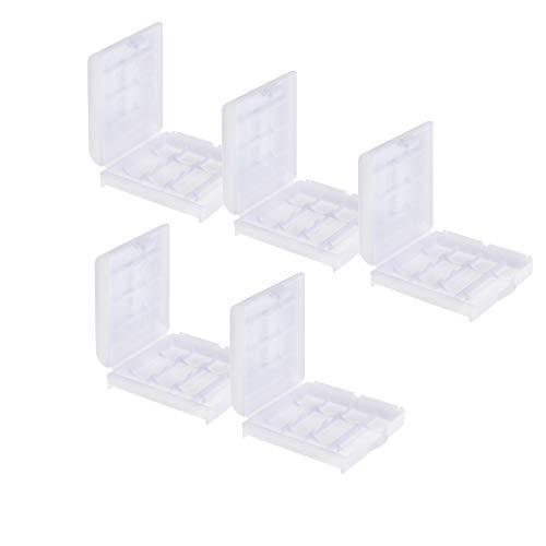 Akkubox Batteriebox Aufbewahrungsbox Case für je 4 x AA Mignon oder 4 x AAA Micro Batterien/Akkus 5er-Set - von Weiss - More Power +