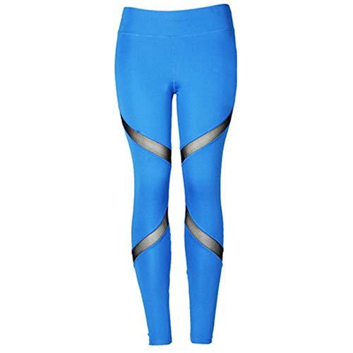 HJFGSAK Leggings de mujer Pantalones de fitness de malla negra para mujer Leggins de cintura alta Push Up Punk Leggins Leggins Entrenamiento sexy sportleggings, Azul, S