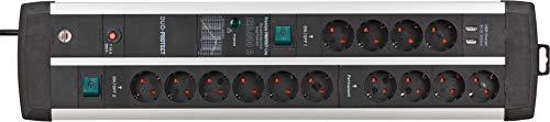 Brennenstuhl Premium-Protect-Line Gaming-Steckdosenleiste 14-fach mit 2x Schalter und Überspannungsschutz (Mehrfachsteckdose mit 3m Kabel, 2-fach USB 3,1 A, Made in Germany)