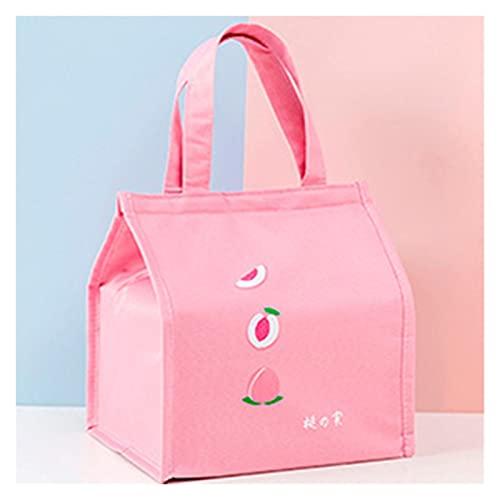 ZYZ Bolsas de Almuerzo portátiles Bolsa de Almuerzo de Papel de Aluminio térmico Bolsa de Almuerzo de Nailon Impermeable para Adultos Niños Trabajo Picnic de Viaje al Aire Libre (Color : Pink)