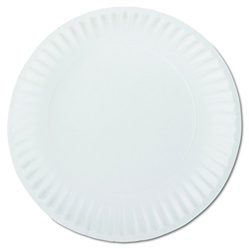 AJM Packaging PP9GREWH 9' White Paper Plates Green Label (10 Packs of 100)