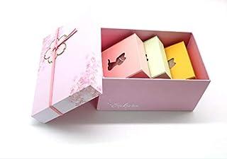 100%の凍りこんにゃくスポンジ 蒟蒻洗顔クロス 桜のプレゼントケースセット品 小さい贈り物付け 洗顔用/体用 3個セット(桜・1枚 黄・1枚 青・1枚)