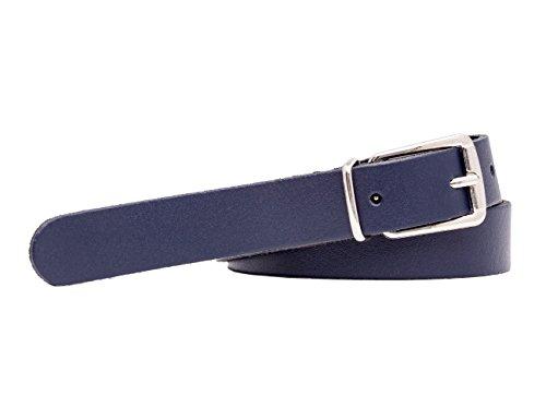 shenky - Cintura sottile in vera pelle - larga 2 cm - girovita dai 85 ai 130 cm - Blu scuro - 130 cm