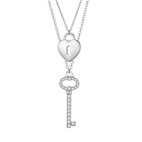 Collana con ciondolo a chiave e lucchetto per donna, collana a catena lunga separabile in oro e argento a doppio strato con cristallo lucido Il miglior regalo di gioielli per mamma, amici