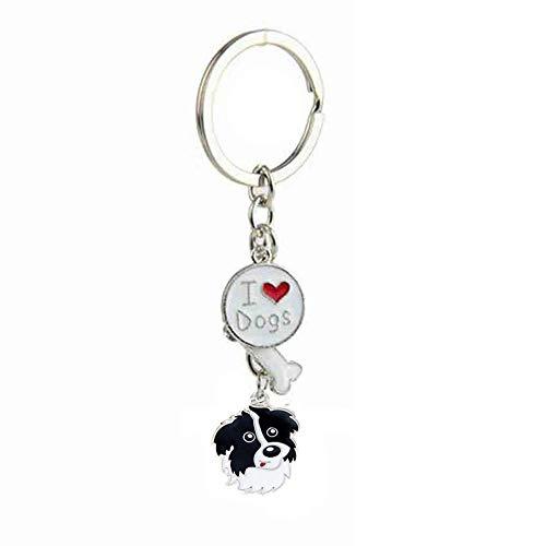 NashaFeiLi Hunde-Schlüsselanhänger, Welpen-ID-Anhänger aus Metall, Liebes-Anhänger, Geburtstagsgeschenke für Damen und Herren (50-Border Collie)