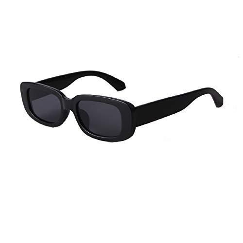 ADEWU Mode Sonnenbrille Rechteckig Retro Schmale Brille mit UV Schutz Sunglasses für Damen Herren (S-Schwarz)