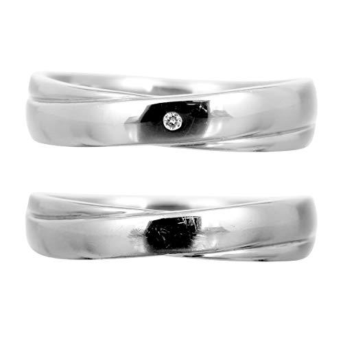 [ココカル]cococaru ペアリング シルバー リング2本セット ダイヤモンド マリッジリング 結婚指輪 日本製(レディースサイズ19号 メンズサイズ15号)
