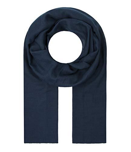 Majea Tuch Lima schmal geschnittenes Damen-Halstuch leicht uni einfarbig dünn unifarben Schal weich Sommerschal Übergangsschal, 180cm x 50cm, Navy