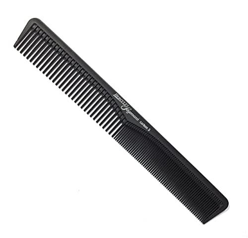 Hercules Sägemann HS C3 carbon 3 - Haarkamm - Profi Carbon Kamm für Haare + Bart - bruchfest - 7 '' - ca. 18 cm - Carbonkamm antistatisch - feine + grobe Zahnung - Styling für Männer und Frauen (3a)