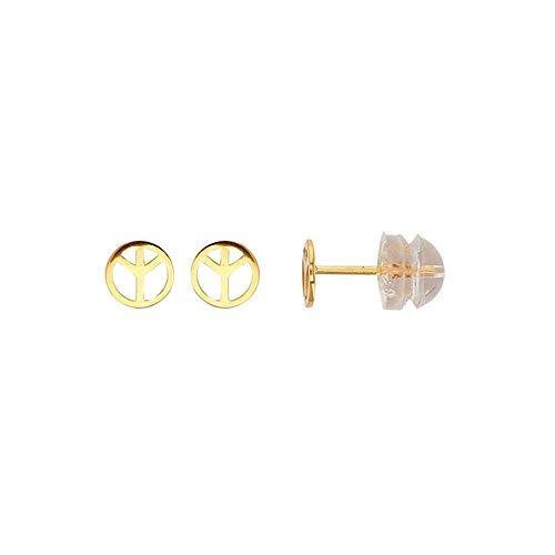 Jouailla Ohrringe für Mädchen, Symbol Peace & Love, Gold 375/1000 – Kinderwagen aus Silikon (393034PL)