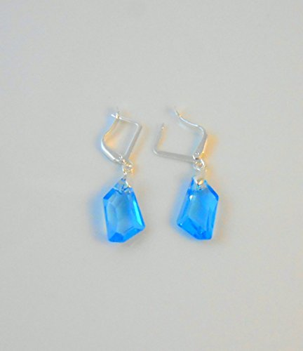 Silver earrings Swarovski Crystal Pure plated 4 Microns small Jewelry Drop Leverback Dangle for Women Valentine Mother's day Bridal bridesmaid Business gift (matched Necklace is available) Aqua