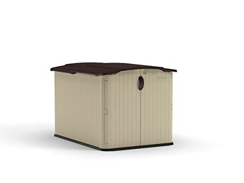 Suncast 6' x 4' Glidetop Horizontal Storage Shed - Natural Wood-like Outdoor Storage for Trash Cans and Yard Tools - All-Weather Resin Material, Slide Lid Design and Reinforced Floor - Brown