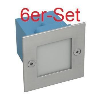 6er Set LED Wandeinbauleuchte LED Wandeinbaustrahler Treppenlicht weiß IP54,230V,1,5W inkl. Montagedose