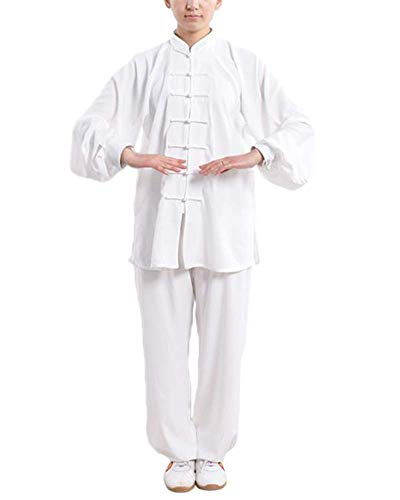 Kampfsport Bekleidung Unisex Erwachsener Trainingsbekleidung Sets - Chinesisch Traditionell Tai Chi Männer Shaolin Kung Fu Kleidung Frauen Wing Chun Baumwolle Anzüge Performance Kostüme Weiß L