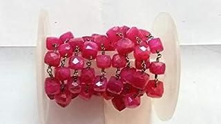 LOVEKUSH 3 Feet Fuchsia Pink Chalcedony Cube Beaded Chain - Fuchsia Chalcedony Box Qxidized Wire Wrapped Chain - Chalcedon...