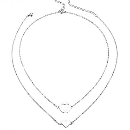 ZSDFW 2 collares para mujer con cadena de clavícula, colgante de mariposa, accesorios para el cuello, chian niña, collar de joyería, amigos, regalo del día de San Valentín
