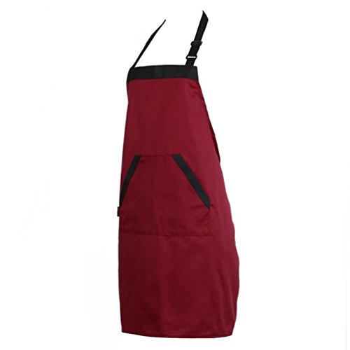 Dragonaur Homme Femme étanche Traiteur Chef Waiter Barre longue Taille Tablier avec Poche Taille M Red