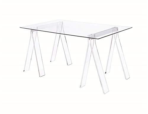 Coaster Home Furnishings Coaster Amaturo Contemporary Clear Acrylic Sawhorse Writing Desk, 31.5x59x30, Glass