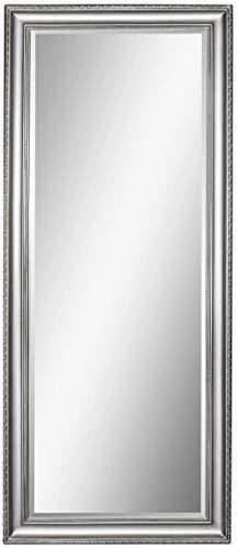 Scan-Trader Inspire Speigel Garderobenspiegel Moderner Vintage Wandspiegel Flurspiegel mit Silber Holz Dekorativer Landhaus-Stil Rahmen für Flur, Garderobe, Wohnzimmer, 154x64x3,5 cm