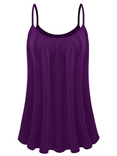 7th Element Plus Size Cami Basic Camisole Tank Top Womens T-Shirt (4X, Eggplant Purple)