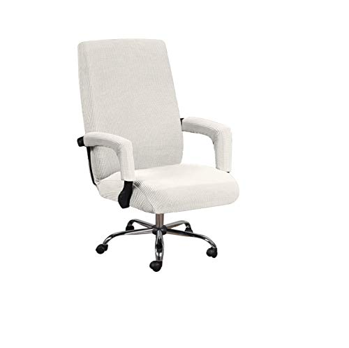 Wenzi-day Elastic Office Lift Computer Chair Cover Modern Anti-Dirty Boss Rotating Chair Seat Case Removable Thickened with Armrest Covers-White-XL with Armrestcover