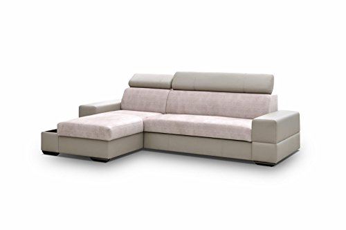 Ecksofa mit Schlaffunktion Eckcouch mit zwei Bettkasten Sofa Couch Wohnlandschaft L-Form Polsterecke CAPRI (Ecksofa Links, Cappuccino)