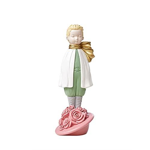 Estatuas de Feng Shui Carácter De La Sala De Estar Nórdicos Personaje De Dibujos Animados Pequeños Adornos Creativos Habitación Infantil Rosa Príncipe Decoraciones De Dormitorio Estatua de riq