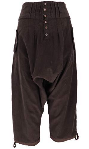 Guru-Shop, Larghi Pantaloni di Velluto a Coste da Harem, Pantaloni Boho Aladdin, Marrone Moka, Cotone, Dimensione Indumenti:S (38), Pantaloni Pluderhosen e Aladin