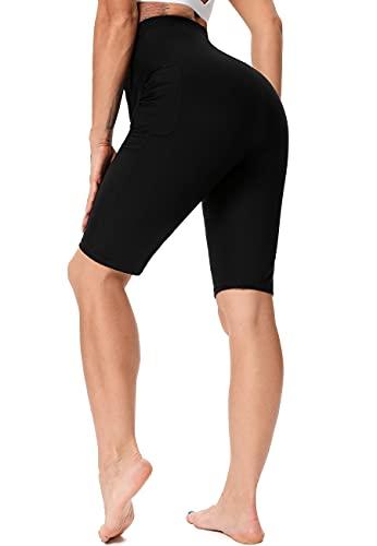 SEASUM Pantaloncini Dimagrante Donna Leggins Sauna Neoprene Vita Alta Pantaloncino Termici Sudore Hot Shaper per Allenamento Perdita di Peso Sudorazione Yoga Fitness, F-Nero e Argento-Corti S