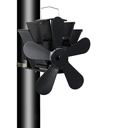 Ventilador de estufa, ventilador de estufa de 4/5/8 con cuchilla para chimenea, ventilador silencioso para chimeneas de leña, chimenea, chimenea (5 cuchillas)
