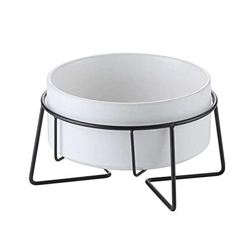 ペットボウル スタンドセット 猫食器 陶器 犬猫用 えさ入れ ごはん皿 お水入れ 食べやすい 猫 犬 食器台-White-M
