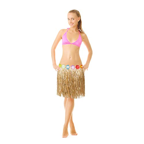 Relaxdays 10024314 Hawaii Rock, bunte Hibiskus-Blüten, Klettverschluss, Fransen Hularock für Damen & Herren, 50 cm lang, natur, 1 Stück