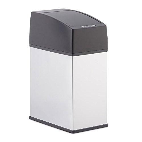 Relaxdays, Silber Sensor Mülleimer Edelstahl, mit Deckel, berührungsfrei öffnen, hygienisch, 3 L,...