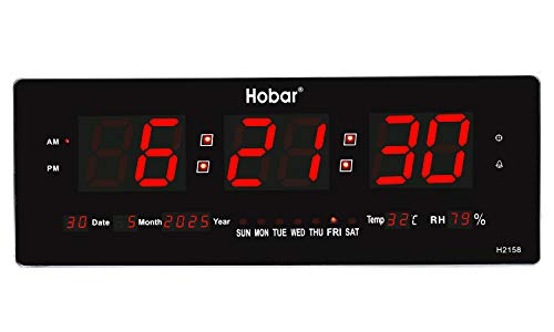 """2020 Upgraded 22.8""""Oversized LED Digital Multifunction Wall Clock Large Display with Alarm Clock,Date Day of Week,Indoor Temperature,Hourly Chime Function,AM&PM,Memory Function,Home Decorative(Red)"""