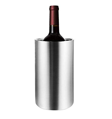 Aiglen Cubo de Hielo de Acero Inoxidable de 1.3L / 1.6L Cubo portátil con Aislamiento de Doble Pared con Tapa Barril de Vino Herramientas de Barra Enfriador de champán (Size : A)