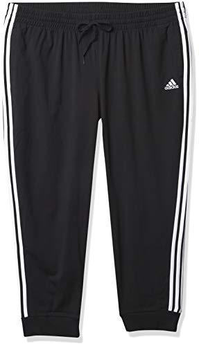 adidas Women's Essentials Single Jersey 3-Stripes Pants, Black/White, Medium