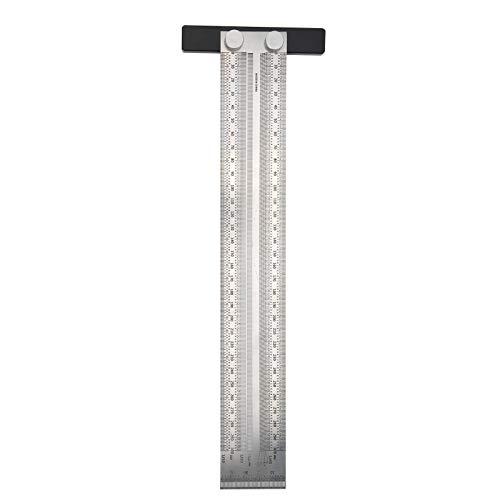 Regla de agujero de acero inoxidable, escala de línea tipo T, herramienta de regla en T, suministros industriales de medición, regla de trazado preciso de 300 mm, para líneas horizontales verticales p