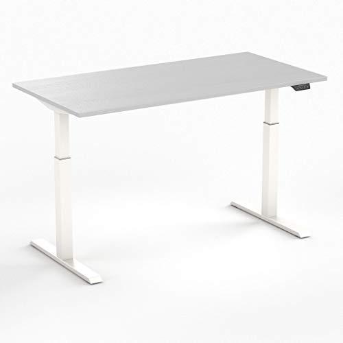 Worktrainer Elektrischer Sitz-Steh-Schreibtisch Steelforce 370 (Weiß/Grau 140 x 80cm)