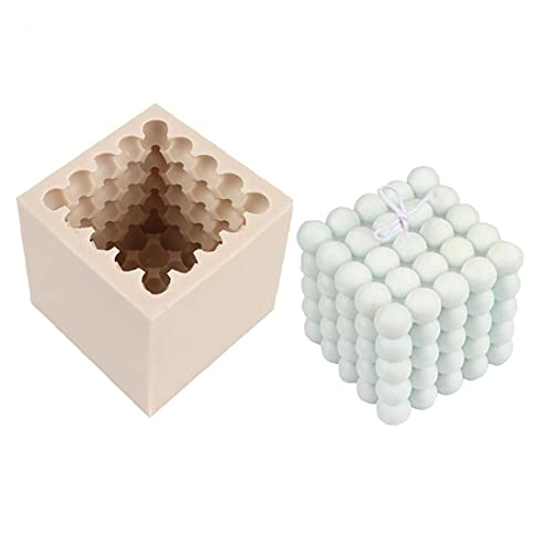 YepYes De Silicona Molde de la Vela 3D Cube Vela de la Bola moldes de Silicona de Cera del Molde DIY de la decoración Que Hace la Herramienta de jabón perfumado Cera