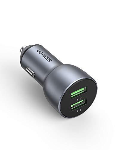 UGREENカーチャージャー 36W【デュアルQC3.0ポート】シガーソケット充電器 急速充電 車載充電器 iPhone 12/...