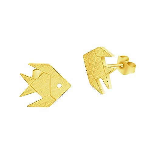 Lindos pequeños aretes de pez, joyería para niños, color dorado, acero inoxidable, origami, pez dorado, aretes, moda, Aros Mujer, Oreja-Gold-color_China